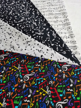4pc 25x24cm Colorful Music Note Stave Joy Music Score Black White Bundle Cotton Fabric Patchwork Tissue Telas DIY Doll viaPhil