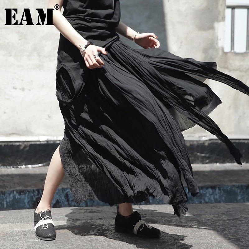 [EAM] High Elastic Waist Black Irregular Pleated Vent Long Half-body Skirt Women Fashion Tide New Spring Summer 2020 JL449