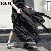 [EAM] High Elastic Waist Black Irregular Pleated Vent Long Half-body Skirt Women