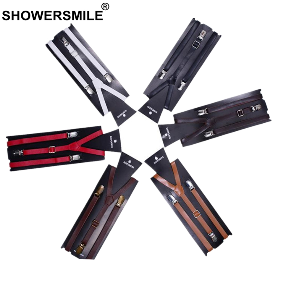 SHOWERSMILE Pants Suspenders Leather For Women Vintage White Black Red Khaki Female Shirt Adult Braces 100 cm