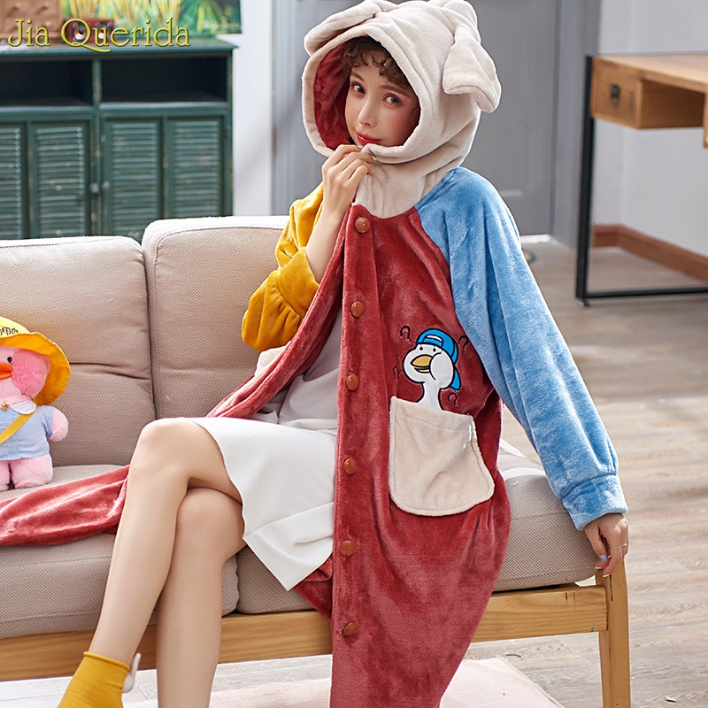 Kawaii Lingerie Velvet Robe Women's Loose Plus Size Home Dressing Gown Cute Duck Embroidered Girl's Robe Hooded Ears Long Robe
