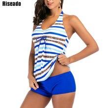Riseado Striped Printing Tankini Two piece Swimsuit Female 2019 Swimwear Women Halter Boyleg Bathing Suits Plus Size Swimwear