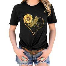 Летняя модная женская футболка Повседневная с принтом подсолнуха