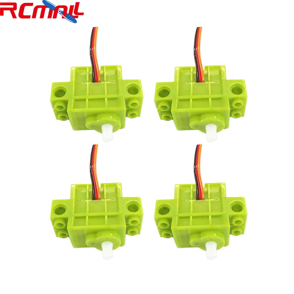 4Pcs Programmable 360 Degree Contiguous Rotation Servo Geekservos Motor For Lego Microbit Micro:bit, Robot Smart Car (Green)