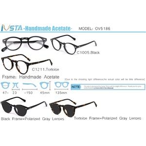 Image 3 - IVSTA OV 5186 with logo Gregory Peck Acetate Glasses Women Round Polarized Sunglasses Brand Designer with Box Myopia Optical
