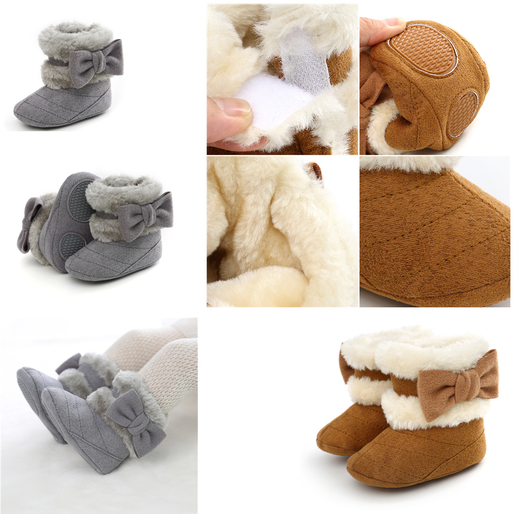 Flock Fur Baby Girl Winter Booties Pink Baby Girl Boots For Winter Baby Warming Shoes Newborn First Walker Shoes With Headband