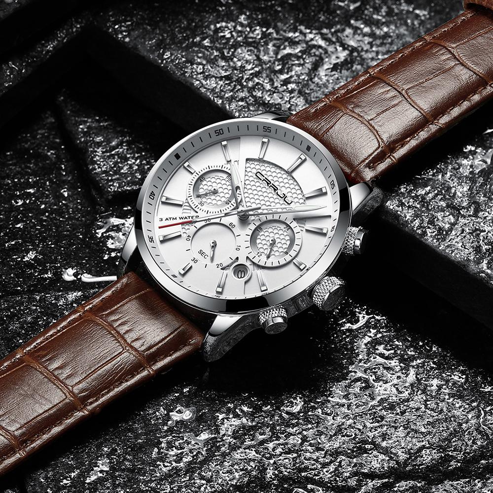 CRRJU, nuevos relojes de moda para hombre, relojes de pulsera analógicos de cuarzo, cronógrafo resistente al agua de 30M, reloj deportivo con fecha Relojes De Correa De Cuero para hombre 6