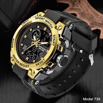 SANDA Top Luxury Watches Men Military Army Mens Watch Waterproof Sport Wristwatch Dual Display Watch Male Relogio Masculino 8