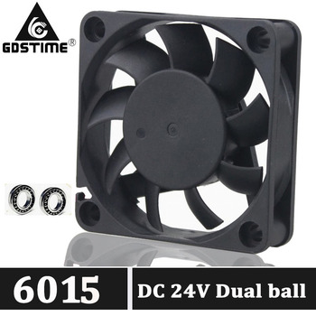 2Pcs Gdstime Brushless DC Cooler Fan 24V 60mm 60x60x15mm 6015 6cm Ball Bearing 2Pin For Computer PC CPU Case Cooling 2pcs gdstime dc 24v 2 pin ball bearing 40mm mini small pc cpu cooling fan cooler 40x40x20mm 4020