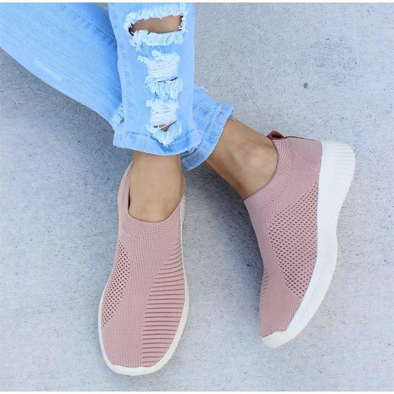 mocassins sock sapatos femininos estiramento plataforma plana