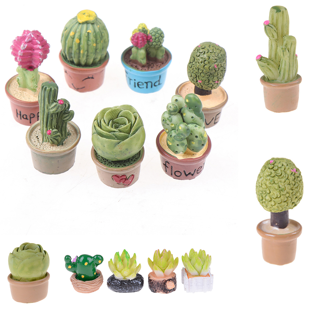 Dollhouse Succulent Plant Office Resin Desktop Birthday Flower Home Decor Craft DIY Gift Miniature Ornament Furniture Toys