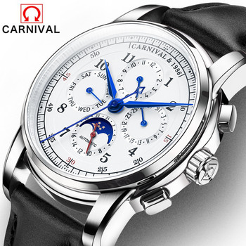 Carnival Brand Watches Men Fashion Luxury Automatic Mechanical Week Month Date Moon Phase Watch Clock For Man Relogio Masculino relogio masculino sekaro moon phase mens watches top brand luxury gold men watch automatic mechanical leather wristwatches