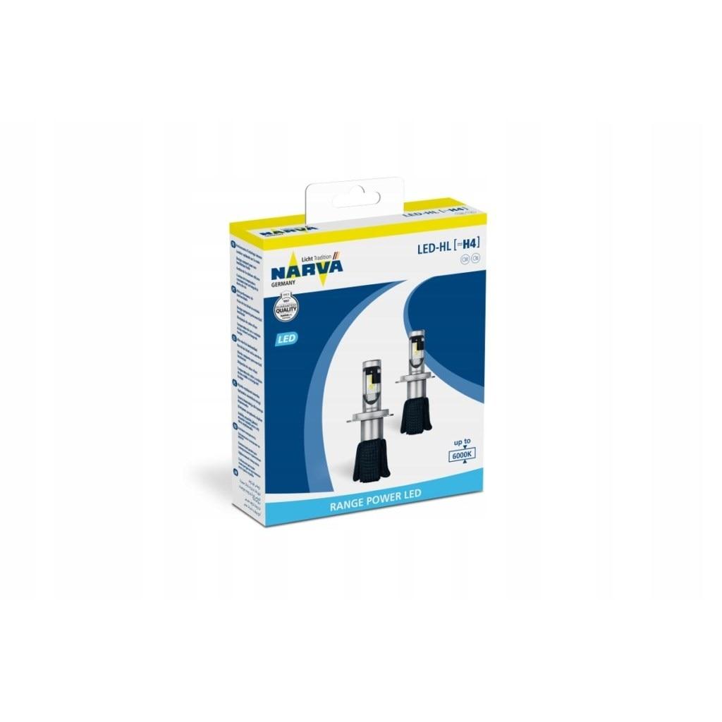 Lamp H4 LED 12V (P43t) 6000 K/16 W Range Power LED (PKG. 2 Pcs) Narva 180043000