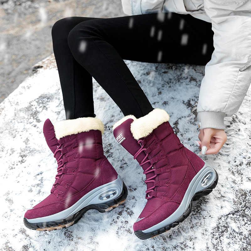 Hiver chaud bottes femme imperméable bottes de neige femmes fond épais épais en peluche neige chaussures grande taille 42 chaussures femme chaussures 36-42