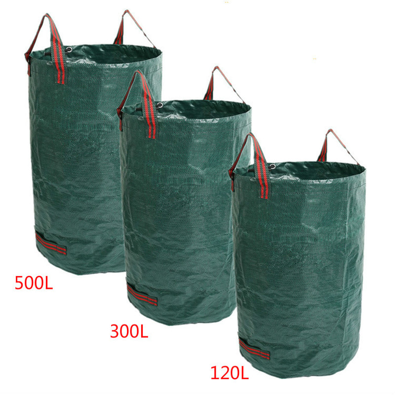 Large Capacity Heavy Duty Garden Waste Bag Durable Reusable Waterproof PP Yard Leaf Weeds Grass Container Storage 120L/300L/500L