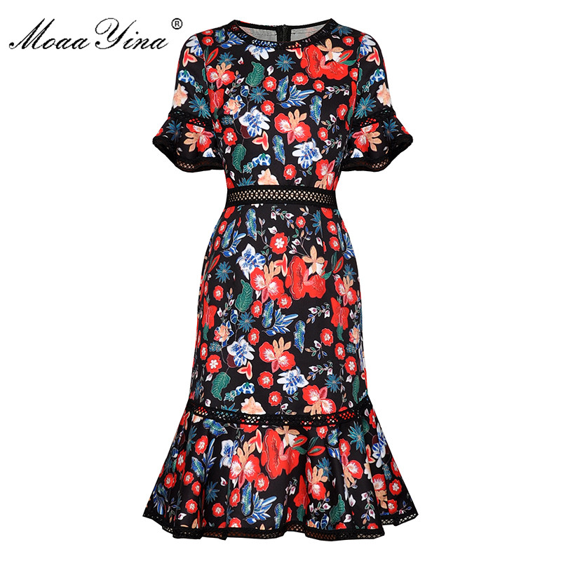 MoaaYina Fashion Designer dress Summer Women's Dress Flare Sleeve Floral-Print Package buttocks Mermaid Dresses