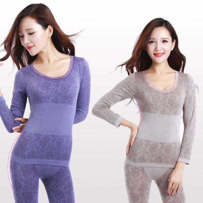 Long Johns Women For Winter Sexy Women Thermal Underwear Suit Women Body Shaped Slim Ladies Intimate Sets Female Pajamas Warm