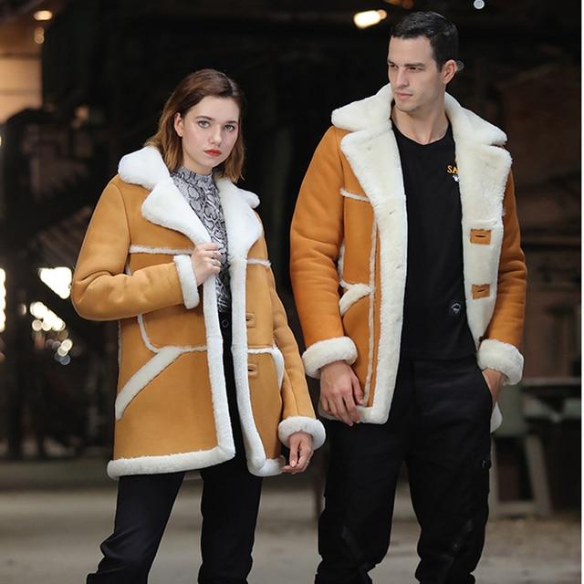 SANI 2019 New Thicken Soft Shearling Fur Yellow Couple Matching Clothing Real Sheepskin Fur Shearling Men Winter Warm Jackets