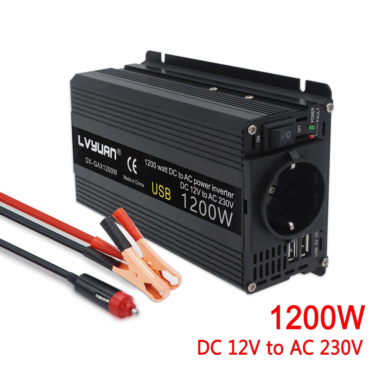 Инвертор 12 В 220 В 1200 Вт/1500 Вт/2000 Вт конвертер 2 USB EU Универсальный Webasto 12 вольт инверторы 12 В 220 В