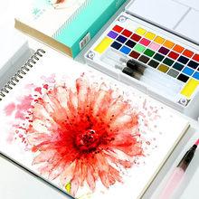 12/18/24/36 renk katı suluboya boya seti ile boya fırçası taşınabilir su renk pigmenti acemi için çizim malzemeleri