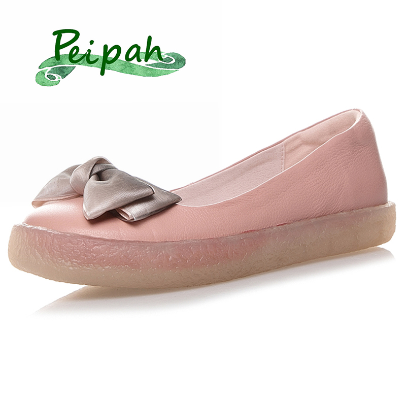 PEIPAH Designer Handmade Cow Leather Women Shoes Casual Flats Shoe Mocassin Women Boat Shoes Summer Leather