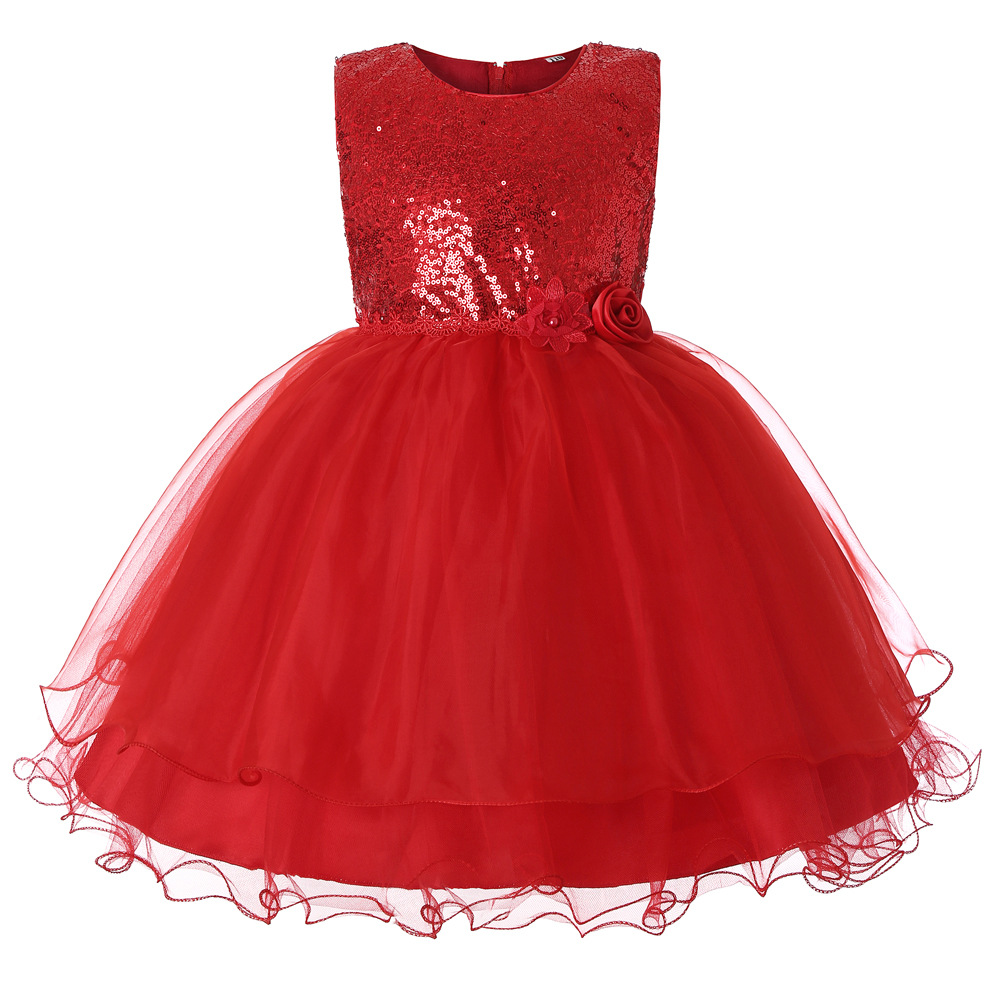 Cross Border Europe And America Sleeveless Sequin Children Princess Puffy Dress Christmas Red Performance Dress