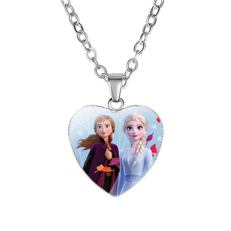 Princess 2 Children Cartoon Necklace Lovely Heart Girls Gift Pendant Children's Toys Clothing Accessories Make Up Jewelry Toys