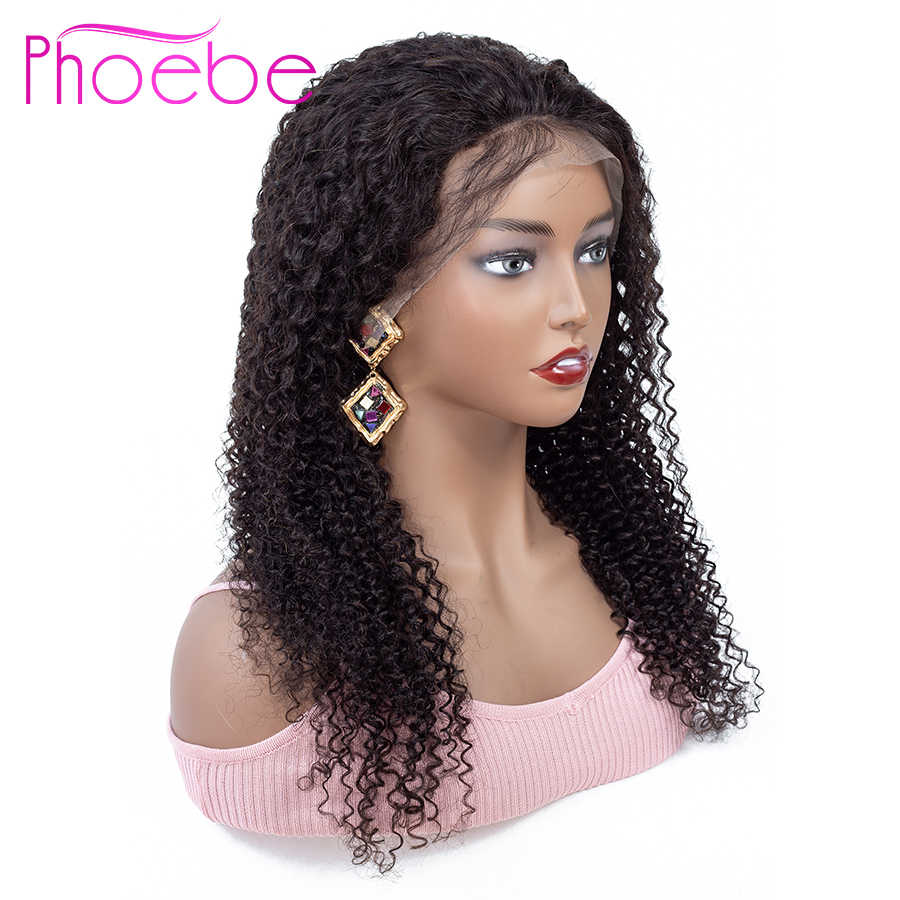 Phoebe 4*4 Curly Human Hair Wig Lace Closure Wig Human Hair Wigs For Black Women Brazilian Wig Non Remy Kinky Curly Lace Wig