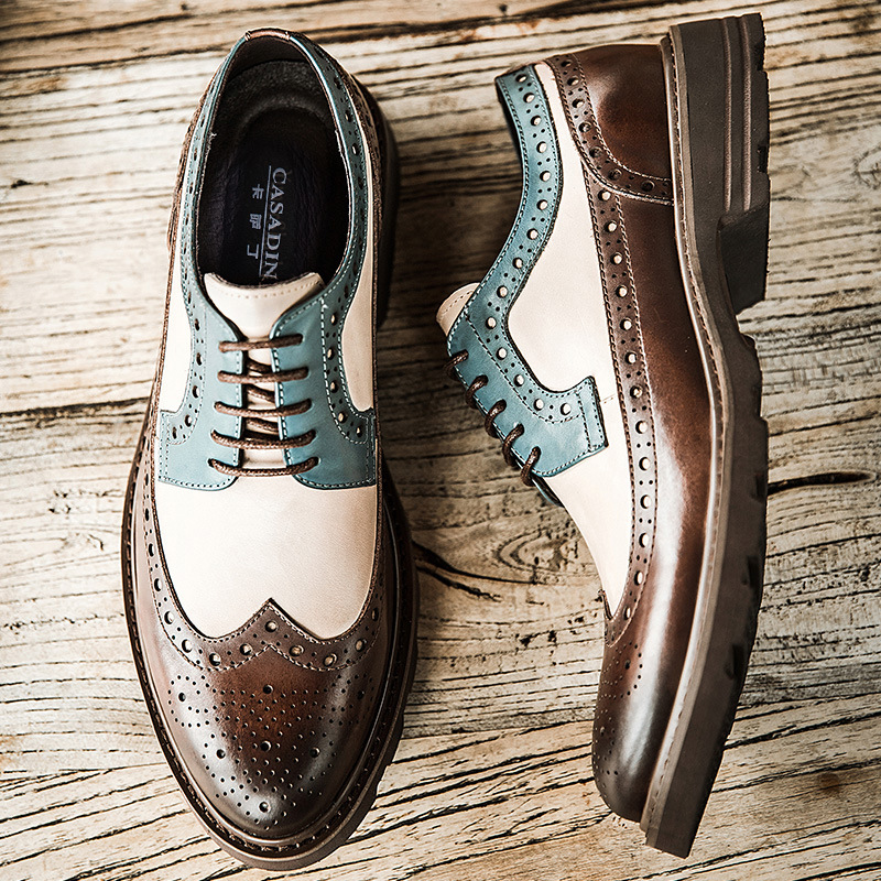 New Design Men Luxury Fashion Party Nightclub Dress Cow Leather Brogue Shoes Carved Bullock Shoe Platform Sneakers Zapato Hombre