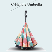 C Handle Windproof Reverse Folding Umbrella for Women 2 Layer Anti-UV Sunshade Inverted Umbrellas Self Stand Women's Umbrella
