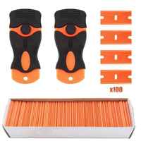 100Pcs DIY Plastic Razor Blades and Razor Scraper Double Edged Sticker Removal Tool US