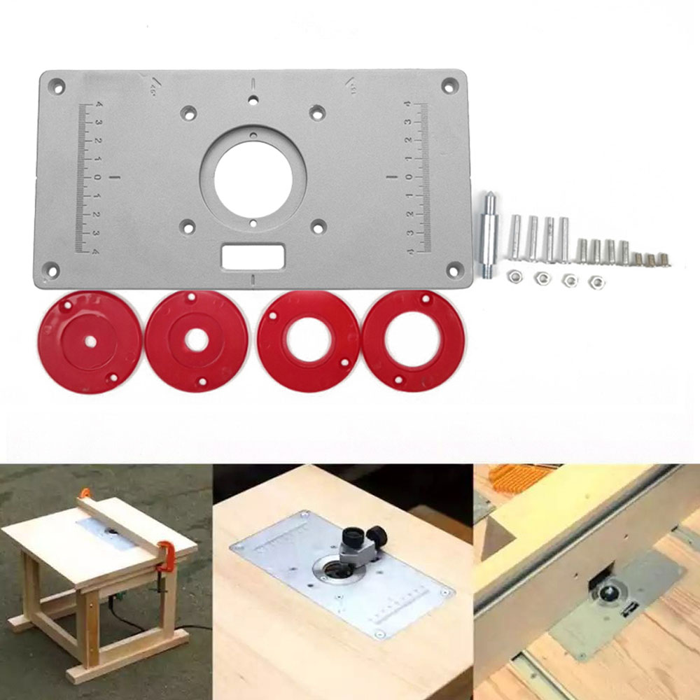 Router Table Plate 700C Aluminum Router Table Insert Plate + 4 Rings Screws For Woodworking Benches 235mm X 120mm X 8mm 9.3inch