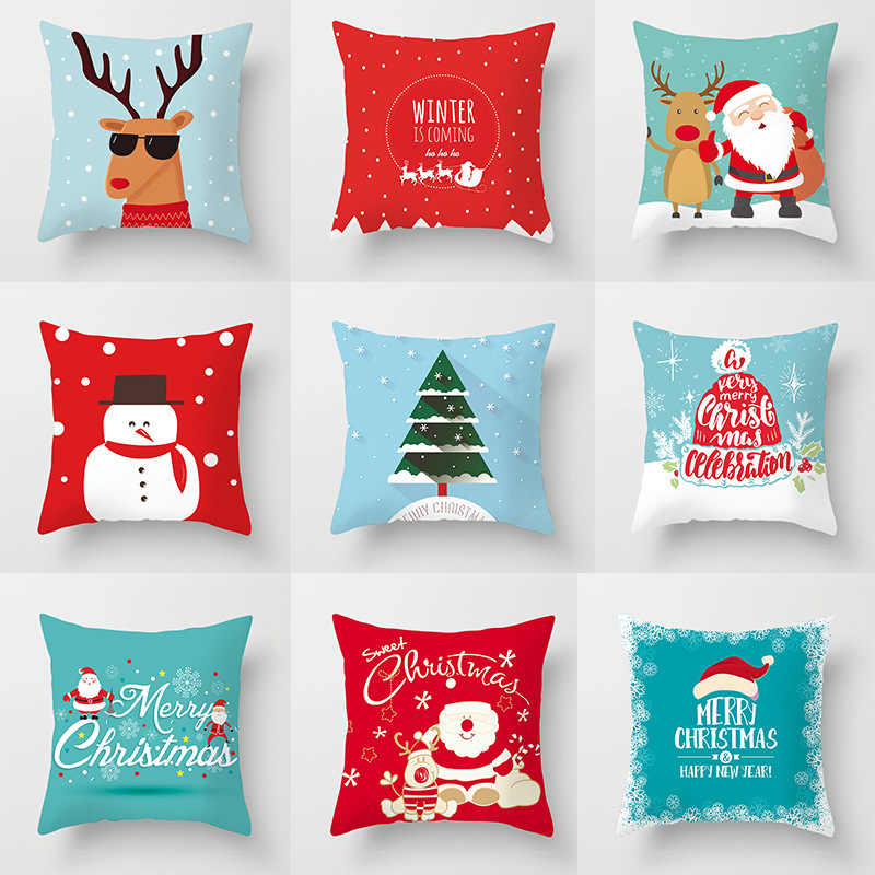 Fronhas Decorativas Poliéster Feliz Natal Papai Noel do natal Alces Throw Pillow Case Capa Fronha