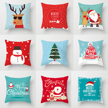 Christmas Decorative Pillowcases Polyester Merry Santa Claus Throw Pillow Case Cover Elk Pillowcase