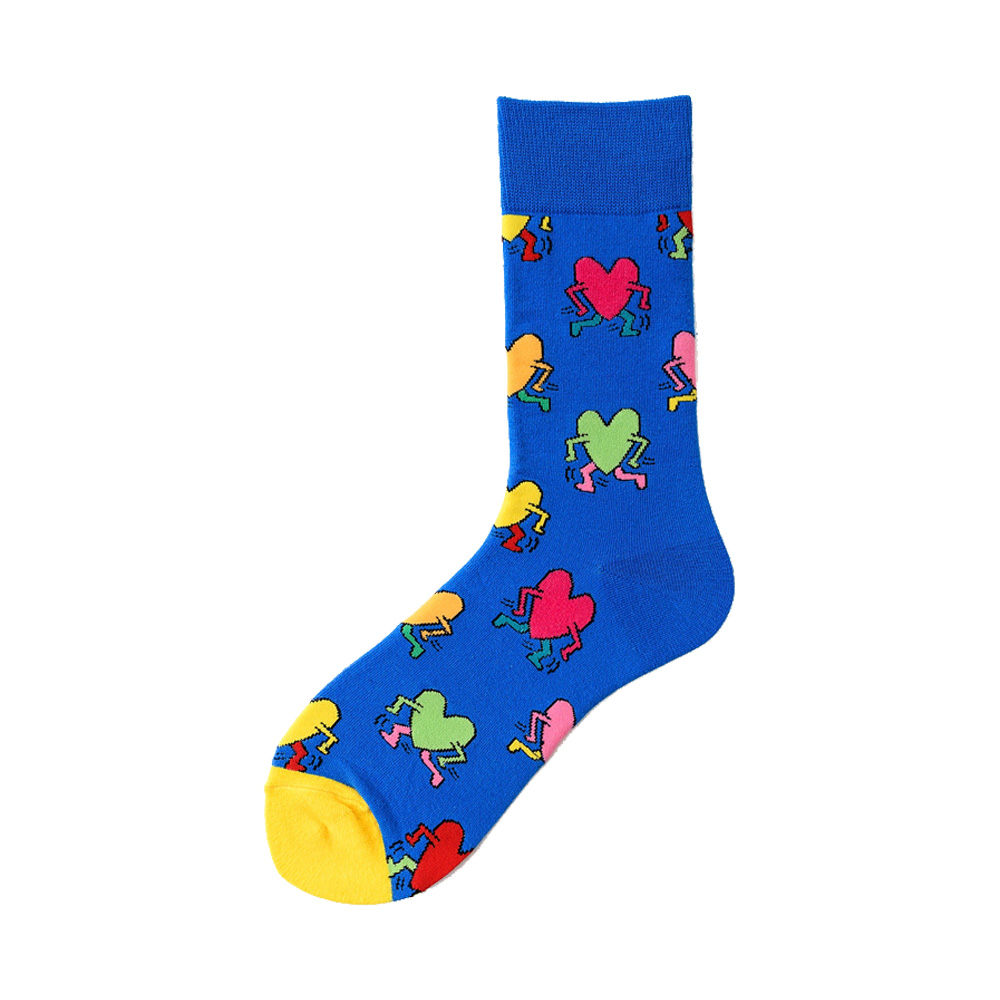 Novelty Happy Funny Men Graphic Socks Combed Cotton Omelette Frog Crazy Burger Salmon Corn Avocado Bird Fish Sock Christmas Gift 5