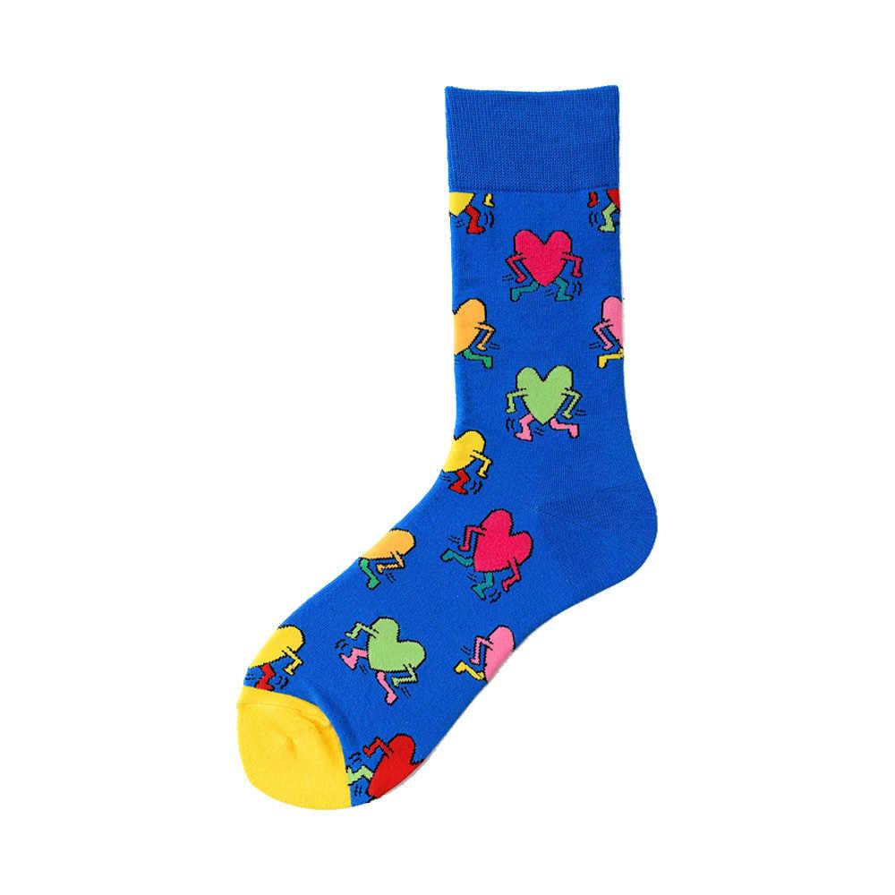 ノベルティハッピーおかしい男性グラフィック靴下コーマ綿オムレツカエルクレイジーバーガーサーモントウモロコシアボカド鳥魚靴下クリスマスギフト
