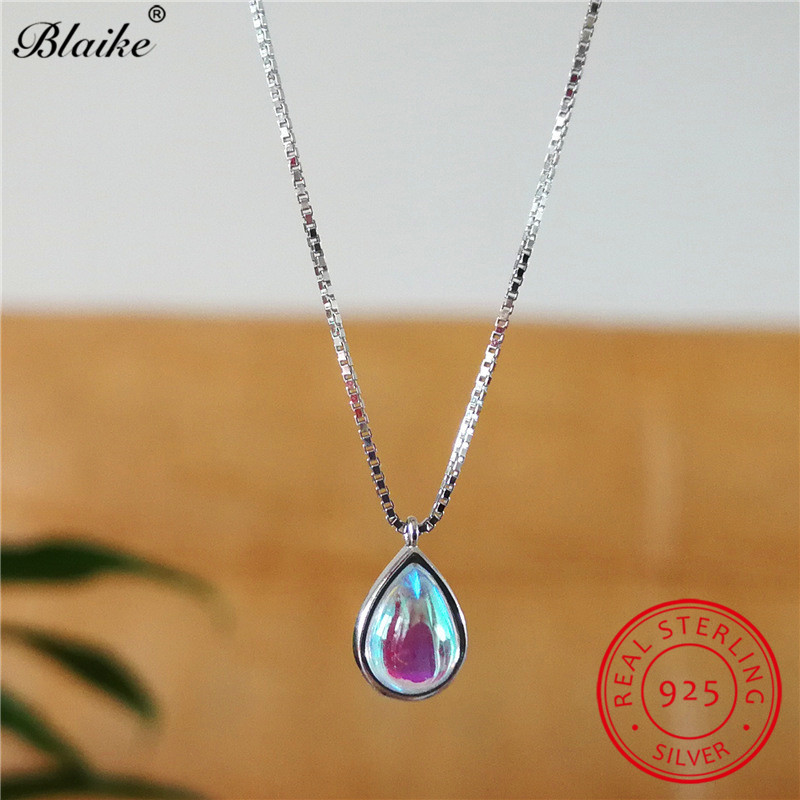 925 Sterling Silver Chain Necklace Moonstone Pendants Water Drop Stone Necklaces For Women Engagement Wedding Choker Jewelry