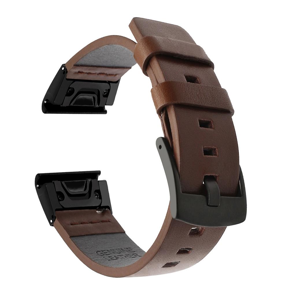 Quick Fit Genuine Leather Watchband 22/26mm For Garmin Fenix 6x 5X Plus 3 3HR 5 6 Forerunner 935 945 Watch Band Wristband Strap