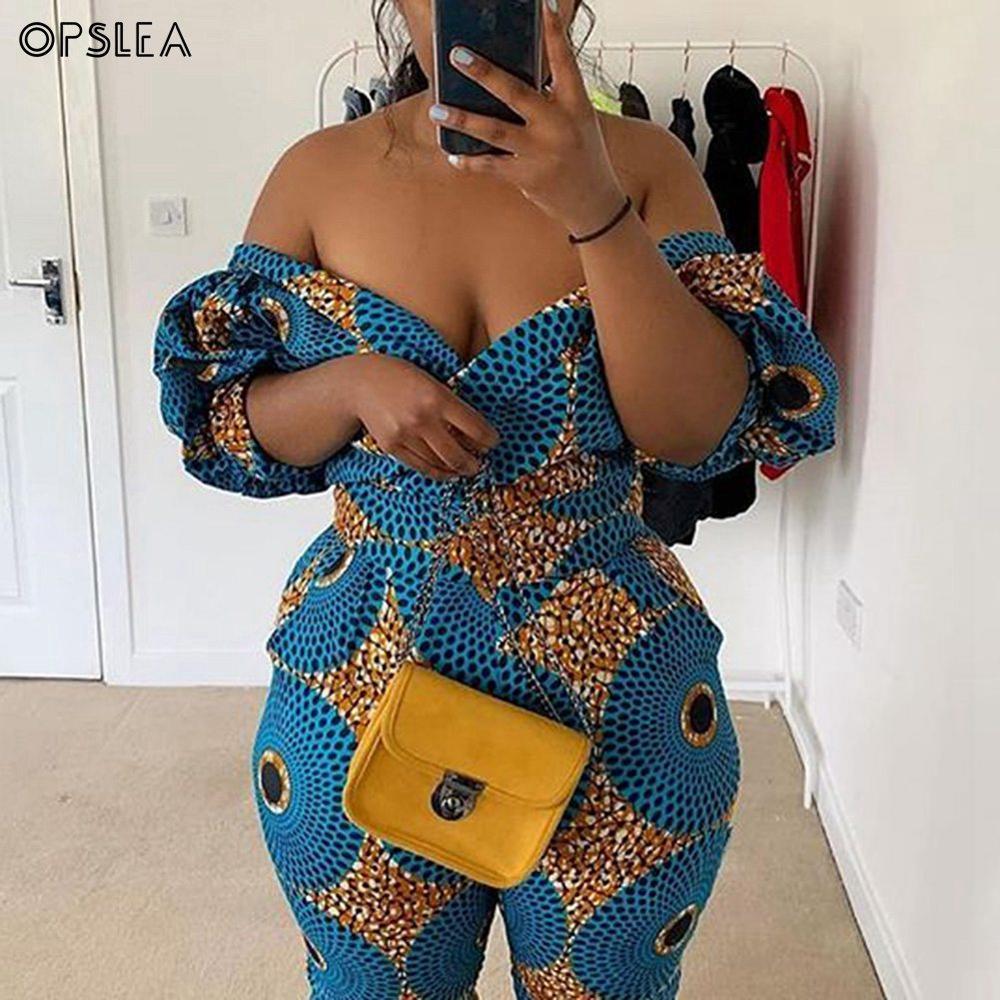 Opslea African Women Sexy One Shoulder Jumpsuit Dashiki 2019 Autumn Ethnic Print Lantern Sleeve Clothes Slim Waist Belt Bodysuit