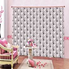 Customized Clear Simple Curtains Tower and love 2 Panels hooks half Blackout Curtains Set(China)