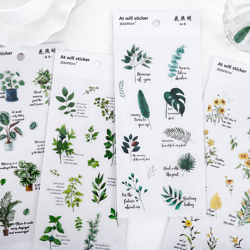 Fresh Handrawing Style Flower Plants PVC Stickers Bullet Journal Diy Scrapbooking Sticker Stationery Diary Stickers Korean