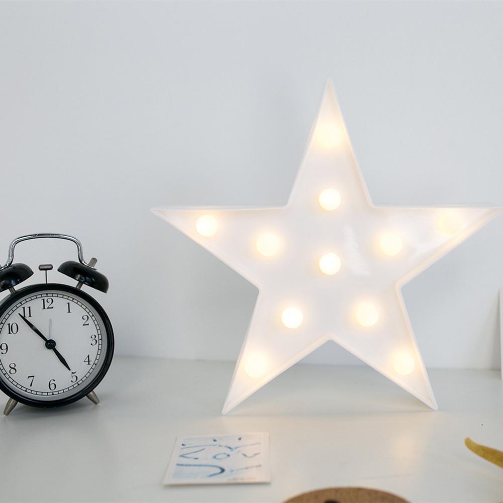 Creative 3D LED Star Night Light Marquee Pentagram Lamp 3W Warm White Light White Birthday Wedding Party Wall Hanging Decor