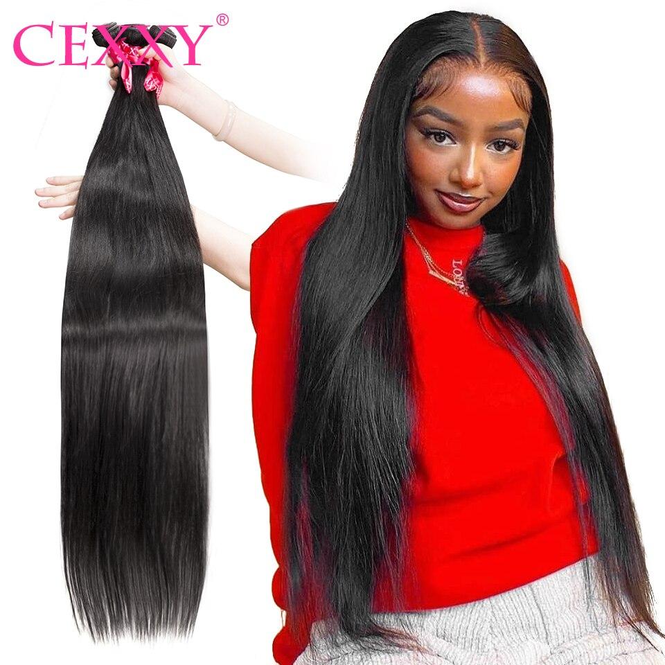 CEXXY прямые бразильские волосы плетенные пряди 100% человеческие волосы пряди 3 4 шт 30 32 34 36 38 40 дюймов Remy волосы для наращивания Длинные