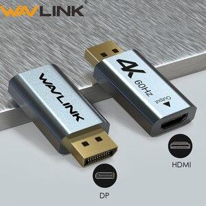 Адаптер Wavlink 1080P DisplayPort к HDMI, конвертер DP к HDMI 4K 2K @ 60 Гц, поддержка видео аудио для ПК, ноутбука, HD проектора