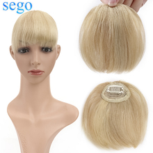 SEGO8G Straight Clips in Mini Bangs Human Hair Extension Remy Top Pieces Brazilian Hair Blonde Color Front Fringes