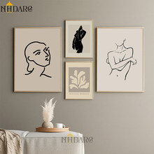 Brown Color Warm Decorative Painting Figure Line Leaf Canvas Print Poster Art Wall Picture Living Room Home Decor No Frame