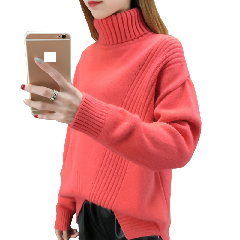 Reclaim winter Coltrui thick sweater women New knitted effen color stretch long sleeve sweater Women's Basic Tops YM805 фото