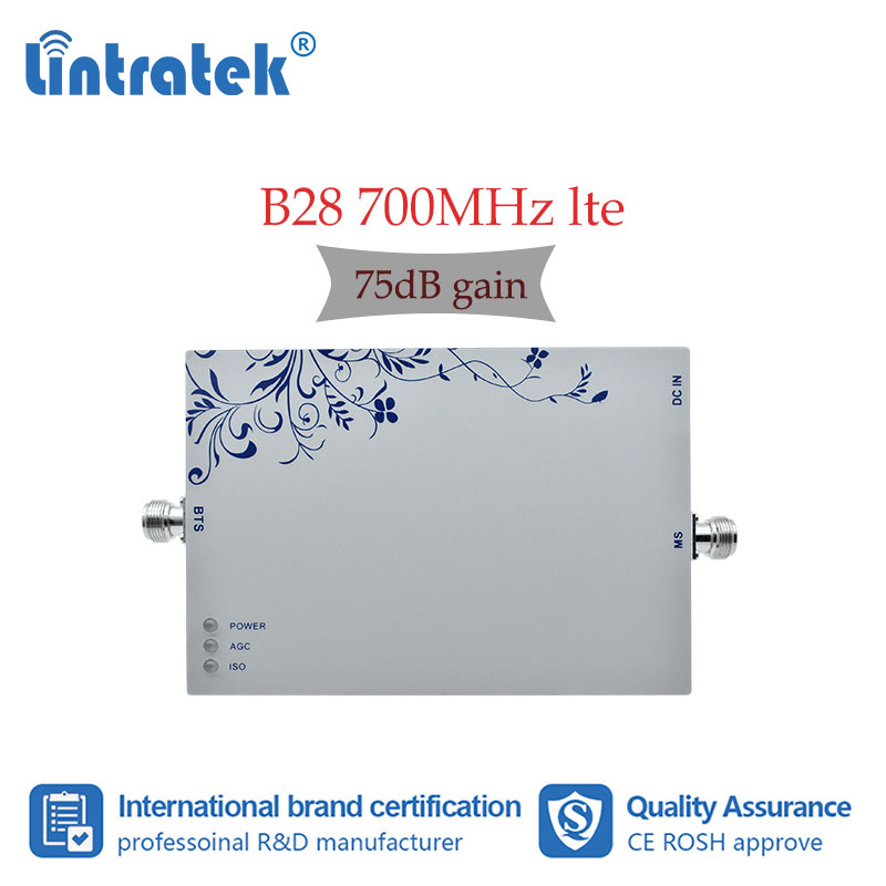 Lintratek 75dB High Gain LTE B28 700MHz Booster Mobile Phone Signal Amplifier Band28 4G Internet Voice Cell Phone Repetiter 4G 4