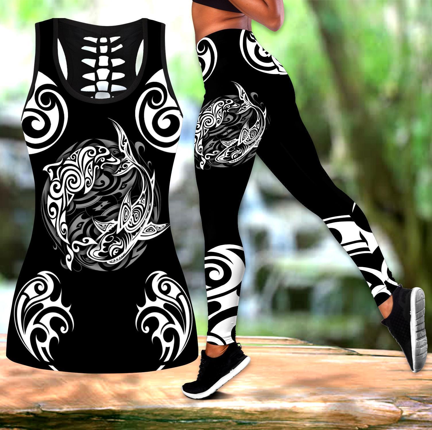 Pohnpei Polynesian Culture Tribe Shark Tattoo 3D All Over Printed Legging & Tank top Sexy Elastic Female Skinny Leggings DDK31