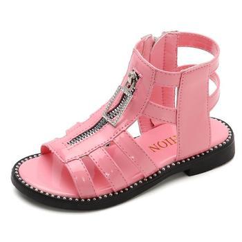 Summer Fashion Roman Boots High-top Girls Sandals 2020 Kids Gladiator Sandals Toddler Child Sandals Princess Beach Sandals фото